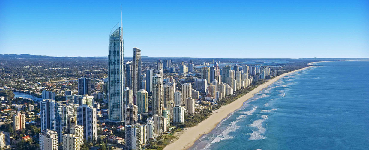 Bird's eye view of Gold Coast City