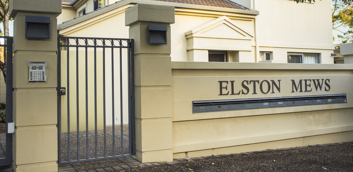 Elston Mews Estate sign